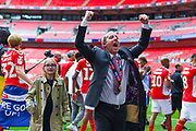 Lee Bowyer of Charlton Athletic (Manager) celebrates to the fans after winning the play off trophy during the EFL Sky Bet League 1 play off final match between Charlton Athletic and Sunderland at Wembley Stadium, London, England on 26 May 2019.