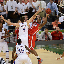 Mar 31, 2012; New Orleans, LA, USA; Ohio State Buckeyes forward Deshaun Thomas (1) shoots as Kansas Jayhawks center Jeff Withey (5) defends during the second half in the semifinals of the 2012 NCAA men's basketball Final Four at the Mercedes-Benz Superdome. Mandatory Credit: Derick E. Hingle-US PRESSWIRE