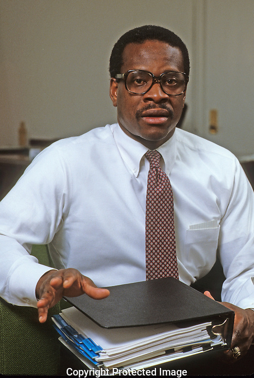 Clarence Thomas when he was at the  Department of Education  Office of Civil Rights in 1982..Photograph by Dennis Brack bb 34