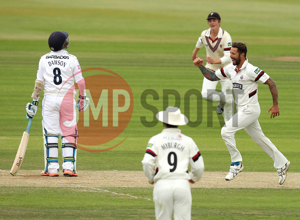 Somerset's Peter Trego celebrates taking the wicket of Hampshire's Liam Dawson - Photo mandatory by-line: Robbie Stephenson/JMP - Mobile: 07966 386802 - 23/06/2015 - SPORT - Cricket - Southampton - The Ageas Bowl - Hampshire v Somerset - County Championship Division One