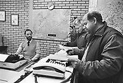 Nederland, Gennep, 10-12-1986Douanekantoor aan de grens bij de grensovergang A73 Gennep Goch.grote vervoerders hebben er hun eigen kantoor, zoals Frans Maas.Foto: Flip Franssen/Hollandse Hoogte