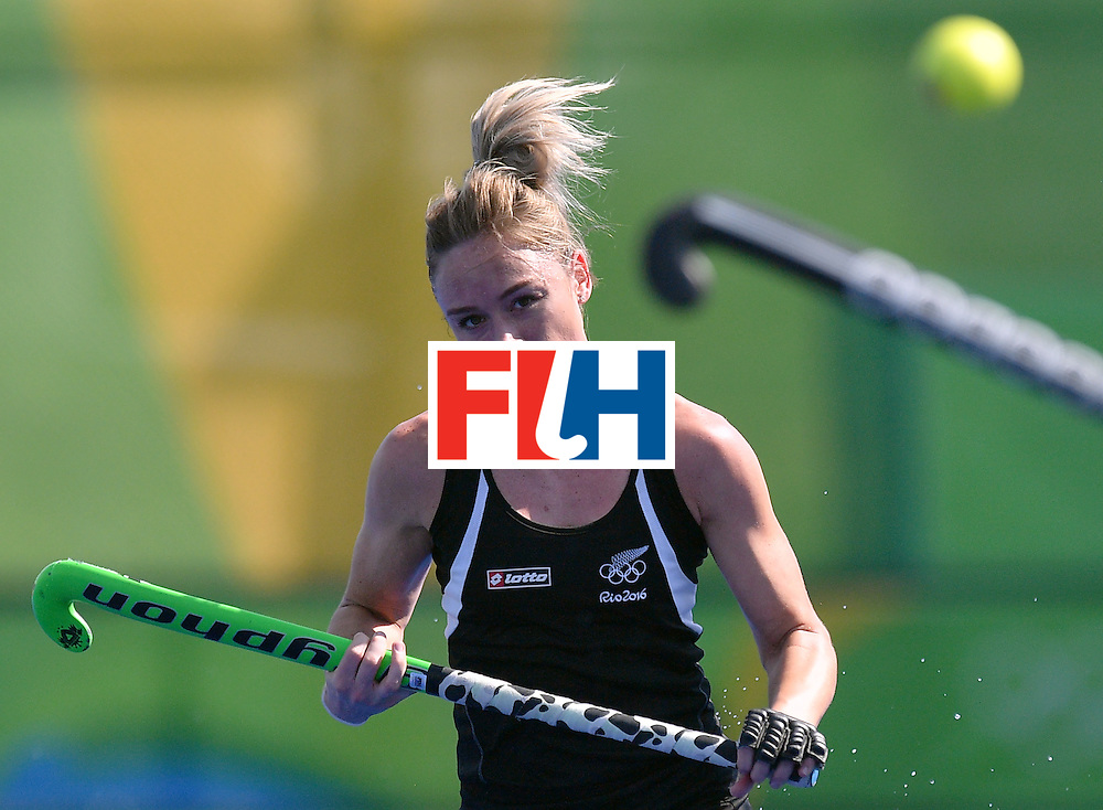 New Zealand's Anita McLaren looks at the ball during the the women's quarterfinal field hockey New Zealand vs Australia match of the Rio 2016 Olympics Games at the Olympic Hockey Centre in Rio de Janeiro on August 15, 2016. / AFP / Carl DE SOUZA        (Photo credit should read CARL DE SOUZA/AFP/Getty Images)