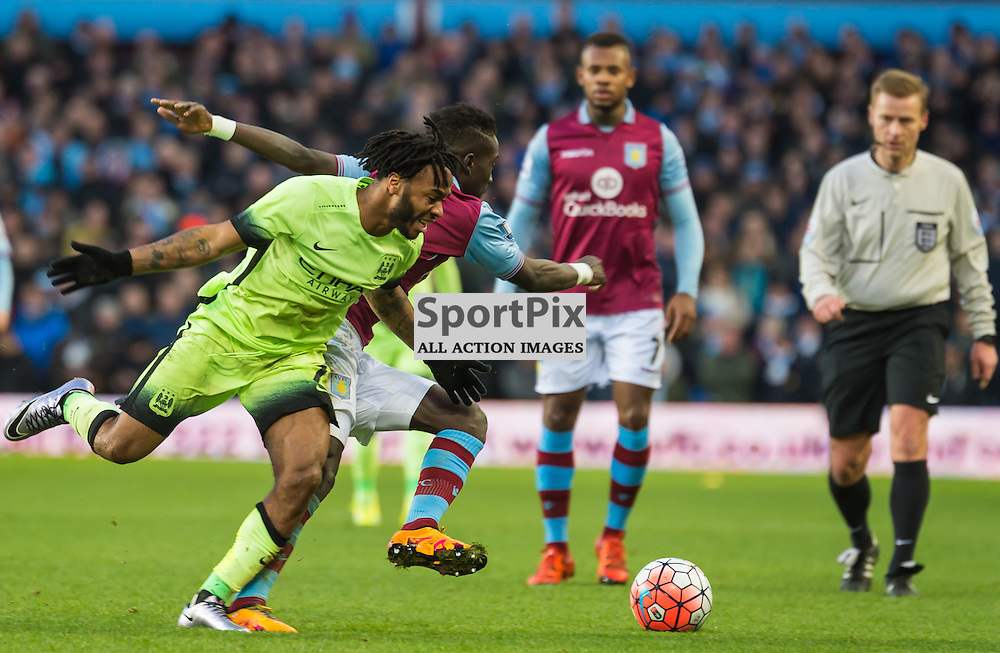 Manchester City midfielder Raheem Sterling (7) and Aston Villa midfielder Jordan Veretout (17) challenge for a loose ball in the FA cup 4th Round game between Aston Villa and Manchester City<br /> <br /> (c) John Baguley | SportPix.org.uk