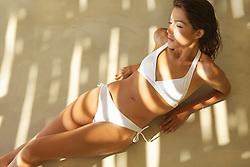 Woman Wearing White Bikini, High Angle View