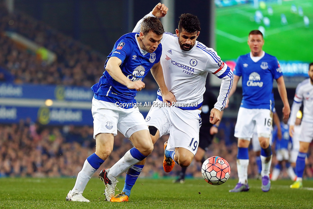 12.03.2016. Goodison Park, Liverpool, England. Emirates FA Cup 6th Round. Everton versus Chelsea. Seamus Coleman of Everton and Diego Costa of Chelsea battle for the ball