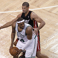 01 June 2012: Miami Heat small forward Shane Battier (31) defends on Boston Celtics small forward Paul Pierce (34) during the first half of Game 3 of the Eastern Conference Finals playoff series, Heat vs Celtics, at the TD Banknorth Garden, Boston, Massachusetts, USA.