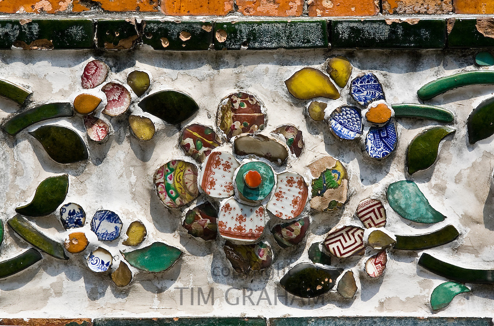 Ceramic tiles decorating the walls of Wat Arun,Temple of the Dawn, Bangkok, Thailand