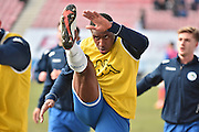Wigan Athletic Defender, Donervon Daniels warms up during the Sky Bet League 1 match between Wigan Athletic and Oldham Athletic at the DW Stadium, Wigan, England on 13 February 2016. Photo by Mark Pollitt.