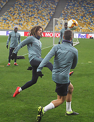 March 13, 2019 - Kiev, Ukraine - Chelsea ETHAN AMPADU (C) in action during a training session of his team on the Olimpiyskiy stadium in Kiev, Ukraine, on 13 March 2019. Chelsea will face Dynamo Kyiv in the UEFA Europa League, second leg soccer match in Kiev on 14 March 2019. (Credit Image: © Serg Glovny/ZUMA Wire)