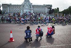 The peloton approaches the Buckingham palace in the first lap of the Prudential RideLondon Classique - a 64.8 km road race, starting and finishing in central London on July 28, 2018, in London, United Kingdom. (Photo by Balint Hamvas/Velofocus.com)