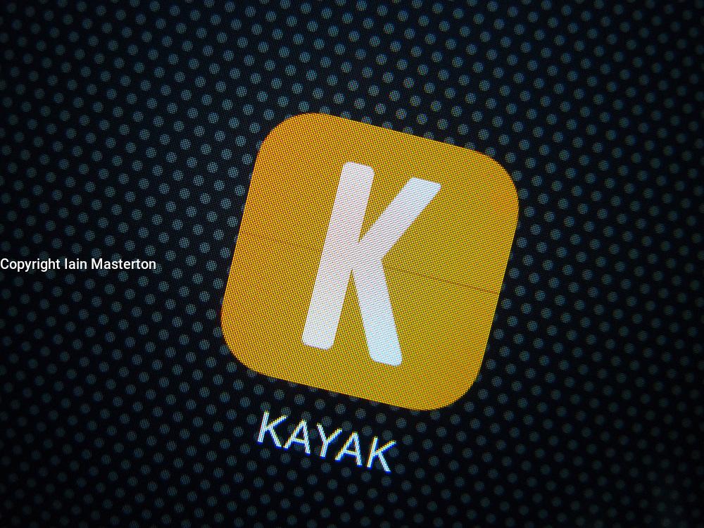 Kayak hotel booking app on iPhone 6 Plus smart phone