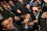 Zac Gersh celebrates his Bar Mitzvah with family and friends Congregation Rodef Sholom in San Rafael, California, on January 16, 2016. (Stan Olszewski/SOSKIphoto)