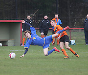 Tayport (blue) v Cranfield (Tangerine) - Scottish Cup Quarter Final at the Canniepairt, Tayport<br /> <br />  - &copy; David Young - www.davidyoungphoto.co.uk - email: davidyoungphoto@gmail.com