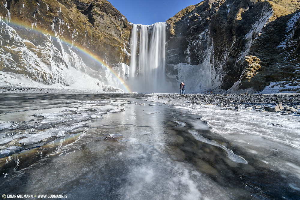 Skogafoss waterfall in early March.