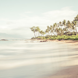Maui Hawaii Mōkapu Beach panoramic photo in Wailea Makena with Maalaea Bay in the Pacific Ocean. Panorama photo ratio is 1:3. Copyright ⓒ 2019 Paul Velgos with All Rights Reserved.