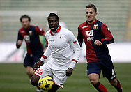 Bari (BA), 13-02-2011 ITALY - Italian Soccer Championship Day 25 - Bari VS Genoa..Pictured: Okaka (BA) Criscito GE.Photo by Giovanni Marino/OTNPhotos . Obligatory Credit
