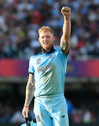 England Are World Champions - Ben Stokes of England celebrates after Martin Guptill of New Zealand is run out in the super over and England win the World Cup during the ICC Cricket World Cup 2019 Final match between New Zealand and England at Lord's Cricket Ground, St John's Wood, United Kingdom on 14 July 2019.