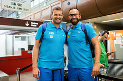 Miha Zupan and Peter Rankovic of Slovenian deaf team before departure to 23rd Summer Deaflympics in Samsun, Turkey, on July 14, 2017 at Airport Joze Pucnik, Brnik, Slovenia. Photo by Vid Ponikvar / Sportida