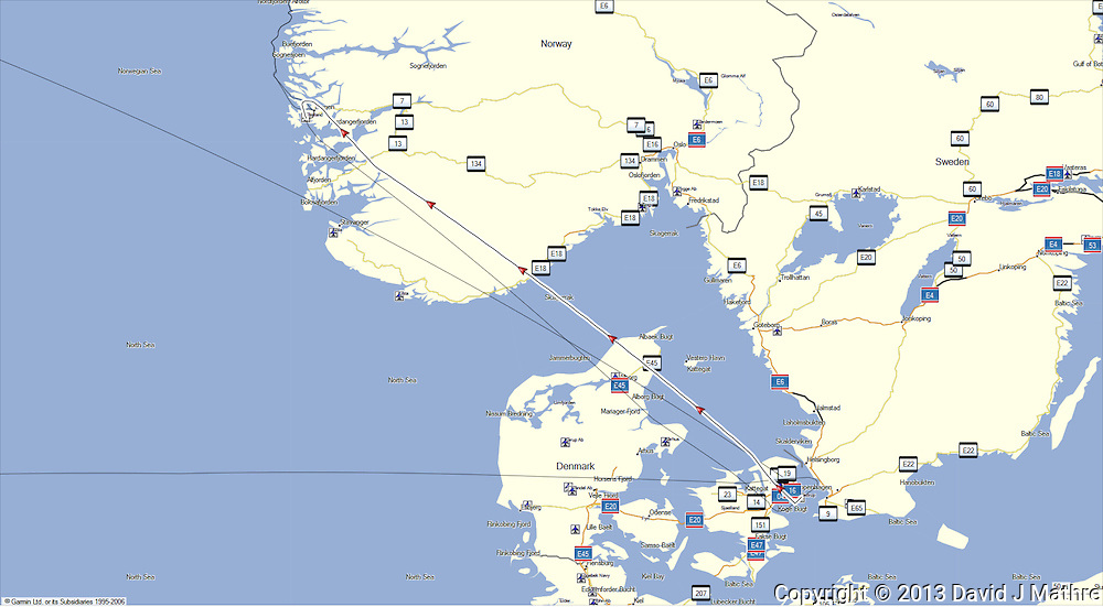GPS Track: Copenhagen to Bergen (462 miles)
