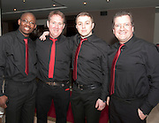 Avaya singers Oludare Olorunfemi, Sean Og Dunleavy, Wojceich Gwizdon and Mike Shivnan who took part in the Choir Factor 2014 in the Radisson blu Hotel, Galway in aid of SCCUL Sanctuary at Kilcuan, Clarinbridge . Photo:Andrew Downes.