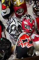 Luchador masks for sale in a Oaxacan artisans' cooperative.