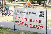 Welcome sign to the Star Tribune Aquatennial Beach Bash Minneapolis Minnesota USA