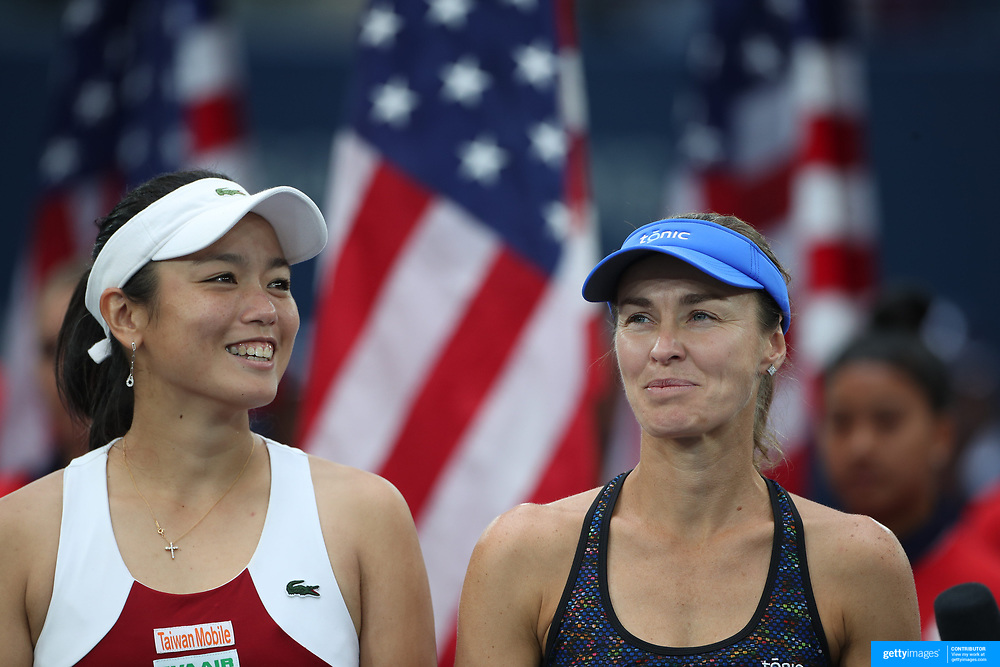 2017 U.S. Open Tennis Tournament - DAY FOURTEEN. Martina Hingis of Switzerland and Yung-Jan Chan of Chinese Taipei after winning the Women's Doubles Final at the US Open Tennis Tournament at the USTA Billie Jean King National Tennis Center on September 10, 2017 in Flushing, Queens, New York City.  (Photo by Tim Clayton/Corbis via Getty Images)