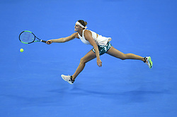 October 2, 2018 - Beijing, China - Aryna Sabalenka of Belarus hits a return during the women's singles second round match against G. Muguruza of Spain at China Open tennis tournament in Beijing. Aryna Sabalenka won 2-0. (Credit Image: © Ju Huanzong/Xinhua via ZUMA Wire)