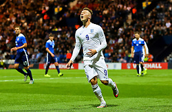 Cauley Woodrow of England U21 reacts after missing a chance - Mandatory byline: Matt McNulty/JMP - 07966386802 - 03/09/2015 - FOOTBALL - Deepdale Stadium -Preston,England - England U21 v USA U23 - U21 International