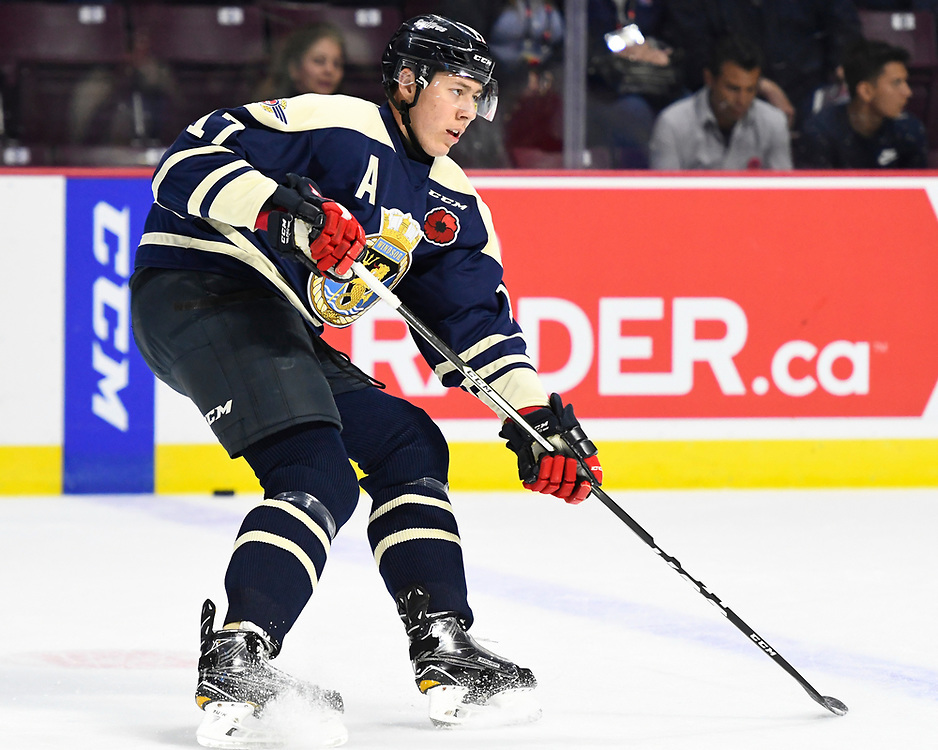 Logan Stanley of the Windsor Spitfires in the opening game of the 2017 MasterCard Memorial Cup against the Saint John Sea Dogs at the WFCU Centre in Windsor, ON on Friday May 19, 2017. Photo by Aaron Bell/CHL Images