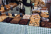 Display fresh baked foods on market stall