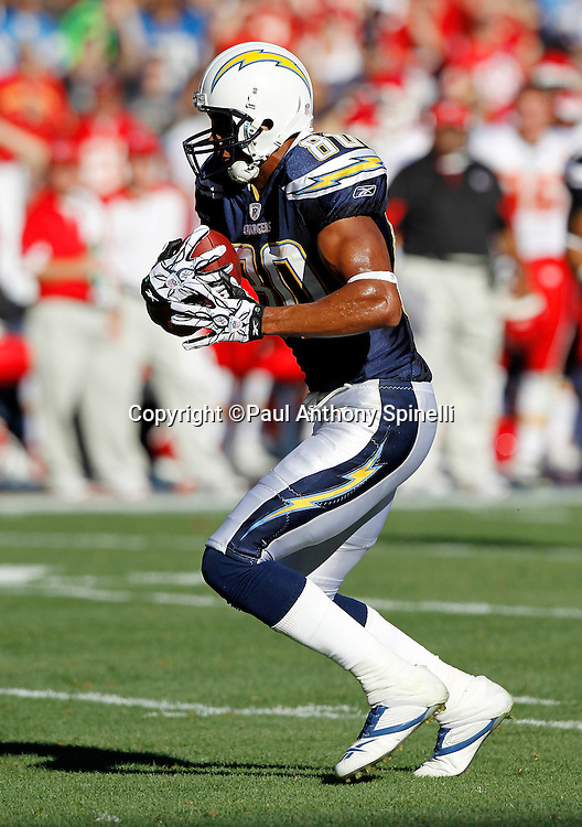 San Diego Chargers wide receiver Malcom Floyd (80) catches a second quarter pass good for a first down at the nine yard line during the NFL week 14 football game against the Kansas City Chiefs on Sunday, December 12, 2010 in San Diego, California. The Chargers won the game 31-0. (©Paul Anthony Spinelli)