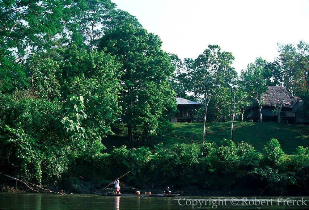 ECUADOR, AMAZON BASIN Napo River (tributary); homesteaders