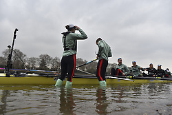 March 24, 2018 - London, United Kingdom - Cambridge University Women's Boat Club blue crew take to the water prior The Cancer Research UK Boat Race, London on March 24, 2018. Cambridge were victorious in both The Cancer Research UK Women's Boat Race 2018 and The Cancer Research UK Men's Boat Race 2018. (Credit Image: © Alberto Pezzali/NurPhoto via ZUMA Press)