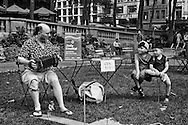 Singer/musician Jody Kruskal performing with his concertina at the Bryant Park Accordions Around The World festival.