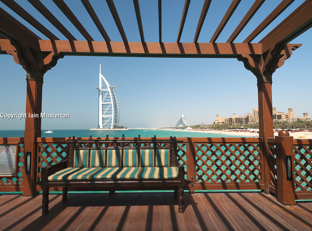 Framed view of Burj Al Arab hotel and beach resorts in Dubai United Arab Emirates