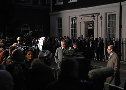 © under license to London News Pictures. LONDON. 05/05/2011. One year on since the last General Election. FILE PICTURE DATED.11/05/10. Sky and BBC television news anchor men talk to cameras whilst waiting for David Cameron to arrive in Downing Street for the first time as British Prime Minister. British Prime Minister Gordon Brown has resigned his position and David Cameron has become the new British Prime Minister on May 11, 2010. The Conservative and Liberal Democrats are to form a coalition government after five days of negotiation. Photo credit should read Stephen Simpson/LNP