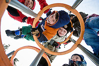 JEROME A. POLLOS/Press..Children climb on playground equipment at ABCD Day Care Center during recess Friday (2/22). Photographed, from left, Skyelar McKanna, Connor Jaskcon, Trevor Knight, Brody Donaldson and Taylor Johnson.