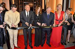 Left to right, LUKE JONES, JEAN CHRISTOPHE BABIN, CARLA SARKOZY, NICOLA BULGARI, PRINCESS LILLY ZU SAYN WITTGENSTEIN BERLEBURG at the launch of the new Bulgari flagship store at 168 New Bond Street, London on 14th April 2016.