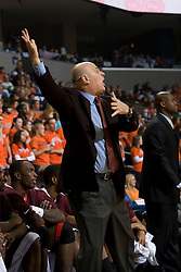 Virginia Tech head coach Seth Greenberg instructs his team from the sidelines.  The Virginia Cavaliers men's basketball team faced the Virginia Tech Hokies at the John Paul Jones Arena in Charlottesville, VA on January 16, 2008.