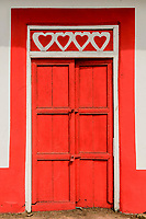 Red hearts door, detail; Pedasi, Panama