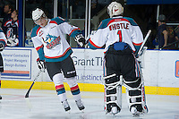 KELOWNA, CANADA - DECEMBER 27:  Ryan Olsen #27 and Jackson Whistle #1 of the Kelowna Rockets celebrate a goal against the Kamloops Blazers at the Kelowna Rockets on December 27, 2012 at Prospera Place in Kelowna, British Columbia, Canada (Photo by Marissa Baecker/Shoot the Breeze) *** Local Caption ***