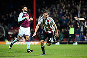 Brentford striker Lasse Vibe (21) celebrating scoring his second goal 3-0 during the EFL Sky Bet Championship match between Brentford and Aston Villa at Griffin Park, London, England on 31 January 2017. Photo by Matthew Redman.