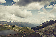 View into Switzerland on a mountain hike near Lanzada/Lombardia/Italy