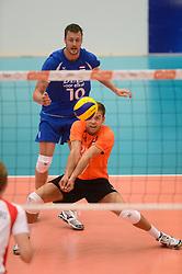 17-05-2013 VOLLEYBAL: BELGIE - NEDERLAND: KORTRIJK<br /> Nederland wint de eerste oefenwedstrijd met 3-0 van Belgie / Jeroen Rauwerdink, Gijs Jorna<br /> ©2013-FotoHoogendoorn.nl