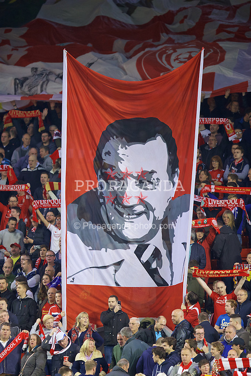 LIVERPOOL, ENGLAND - Thursday, October 1, 2015: A Liverpool supporters' banner of Bob Paisley before the UEFA Europa League Group Stage Group B match against FC Sion at Anfield. (Pic by David Rawcliffe/Propaganda)