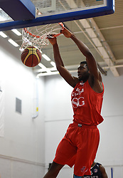 Alif Bland of Bristol Flyers dunks the ball in the BBL game between Bristol Flyers and Worcester Wolves at Wise Basketball Arena on January 17, 2015 in Bristol, England. - Photo mandatory by-line: Paul Knight/JMP - Mobile: 07966 386802 - 17/01/2015 - SPORT - Football - Bristol - SGS Wise Arena - Bristol Flyers v Worcester Wolves - Bristol Basketball League