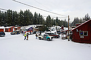 The 2017 Capitol Christmas tree being carried by a Whitewood Transport truck stops in Yaak Montana after leaving the Historic Upper Ford Ranger Station in the upper Yaak Valley on its way to the final destination at the Capitol in Washington DC. Kootenai National Forest in the Purcell Mountains, northwest Montana.