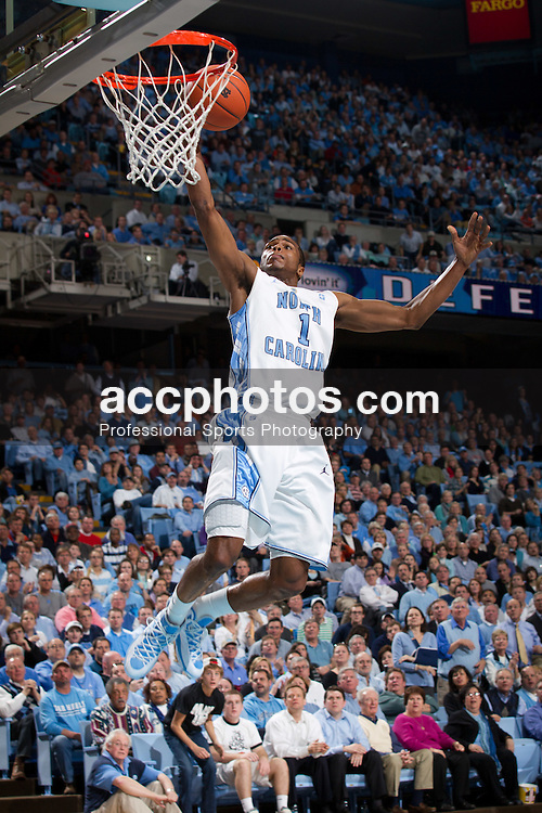 CHAPEL HILL, NC - JANUARY 18: Dexter Strickland #1 of the North Carolina Tar Heels jumps to make a basket while playing the Clemson Tigers on January 18, 2011 at the Dean E. Smith Center in Chapel Hill, North Carolina. North Carolina won 65-75. (Photo by Peyton Williams/UNC/Getty Images) *** Local Caption *** Dexter Strickland