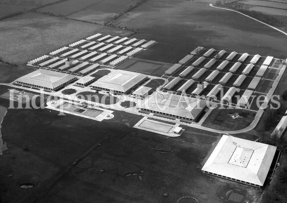 A75 Butlins Mosney, Co Meath.   (No Date) (Part of the Independent Newspapers Ireland/NLI collection.)<br /> <br /> <br /> These aerial views of Ireland from the Morgan Collection were taken during the mid-1950's, comprising medium and low altitude black-and-white birds-eye views of places and events, many of which were commissioned by clients. From 1951 to 1958 a different aerial picture was published each Friday in the Irish Independent in a series called, 'Views from the Air'.<br /> The photographer was Alexander 'Monkey' Campbell Morgan (1919-1958). Born in London and part of the Royal Artillery Air Corps, on leaving the army he started Aerophotos in Ireland. He was killed when, on business, his plane crashed flying from Shannon.
